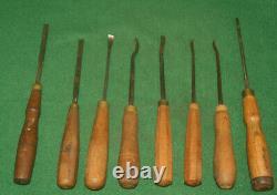 Vintage Eight (8) B. J. Allis & Sons Sheffield UK Wood Gouges/Chisels Inv#RB20