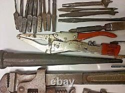 Vintage Hand Tools x16 with 28 Assorted Chisels, Drill Bits & Stamps Ships FREE