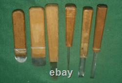 Vintage Lot of Six (6) Craftsman Made Wood Carving Wood Turning Chisels Inv#KB25