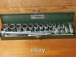 Vintage S-K WAYNE TOOLS 18 Pc. SAE 1/2 12 Pt. Socket Set In CASE
