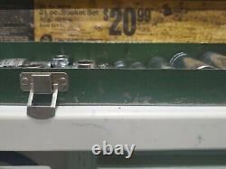 Vintage SK Tools 6 PT Deep Metric Sockets With3/8 12 PT Sockets Vintage Metal Box