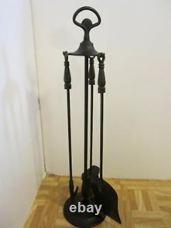 Vintage Wrought Iron Fireplace Tool 4 Pc Stand Poker Brush Shovel Mediterranean