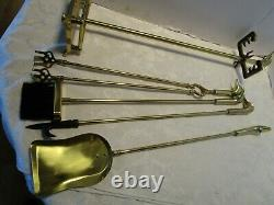 Vintage brass Fireplace stand & Tools 5 Piece Duck heads handles 29 ½ tall
