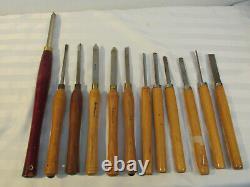 Vtg Lot 12 Pc Wood Lathe Turning Tools Sorby Benjamin Wood River Pittsburgh Hss