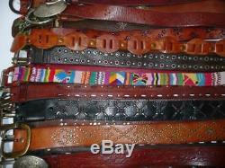 WHOLESALE Vtg & USED 50 Boho RUGGED Tooled LEATHER BELT LOT RESALE Upcycle +