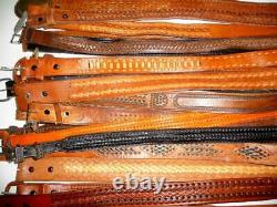 Wholesale Lot 50 Vintage Mexican Leather Woven & Tooled Belts Resell Upcycle