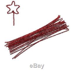 Wholesale Lots Dark Red Christmas DIY Chenille Tinsel Craft Wire 30cm Long