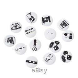 Wholesale Lots Hot Wood Buttons Sewing Tools Pattern Printed Black White 15mm