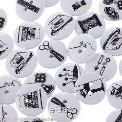 Wholesale Lots Wood Buttons Sewing Tools Accessories Printed Black White 15mm GW